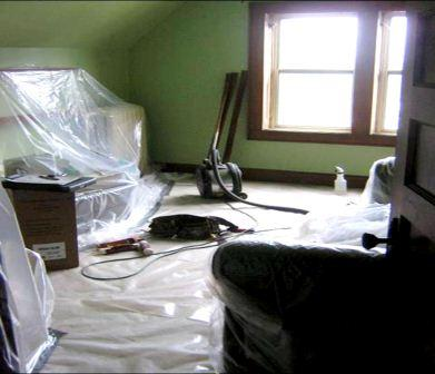 proper plastic coverage of furnishings in interior room