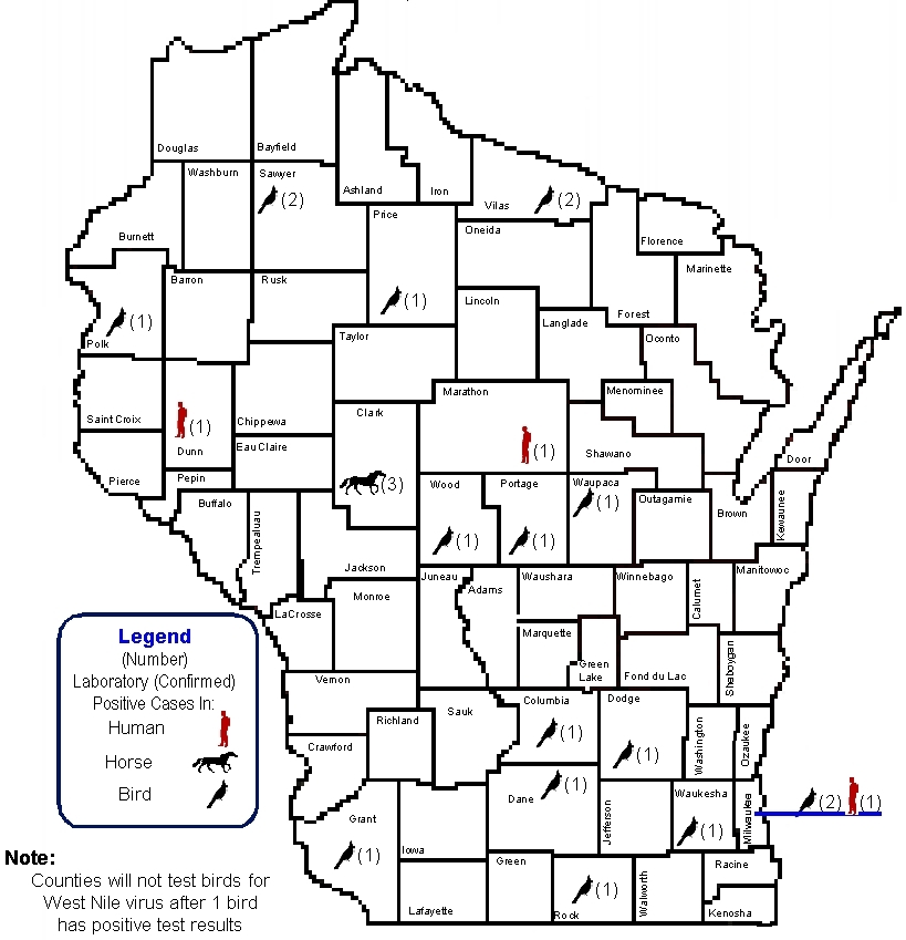 West Nile virus 2011 Surveillance activity in Wisconsin - data updated January 2012