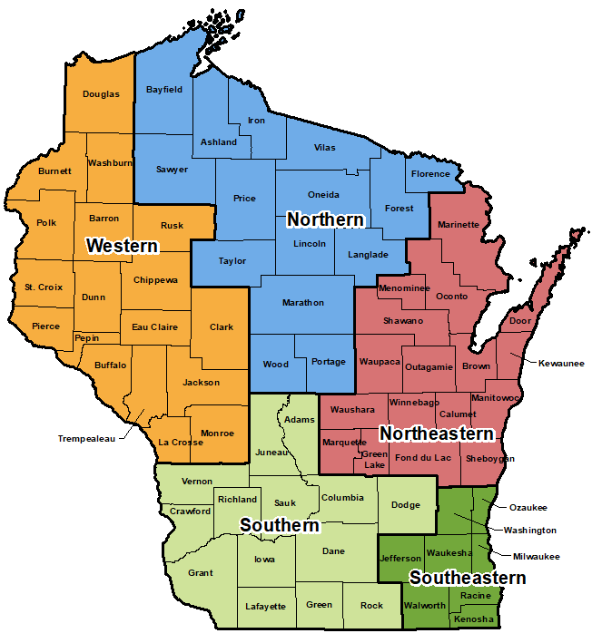 State of Wisconsin highlighting regions used by area administration.