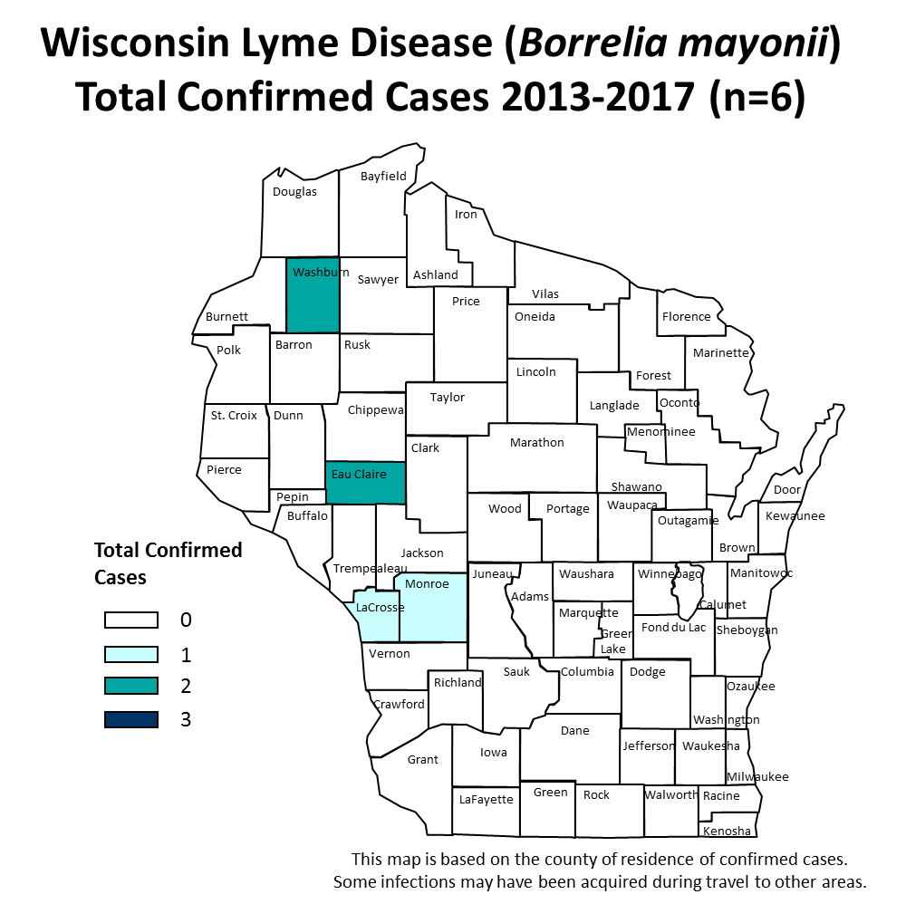 WI map of Lyme Disease Confirmed Cases by County