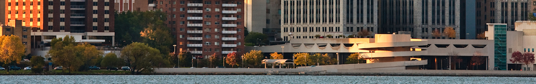 View of Monona Terrace and buildings from the Lake Monona