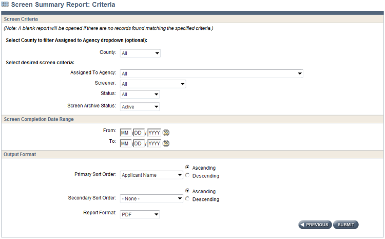 Screenshot of the CLTS FS application