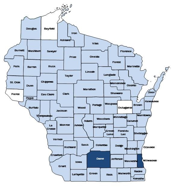 Wisconsin Map identifying CST counties