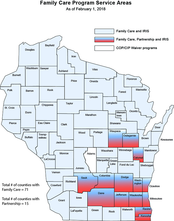 Family Care Program Areas Map