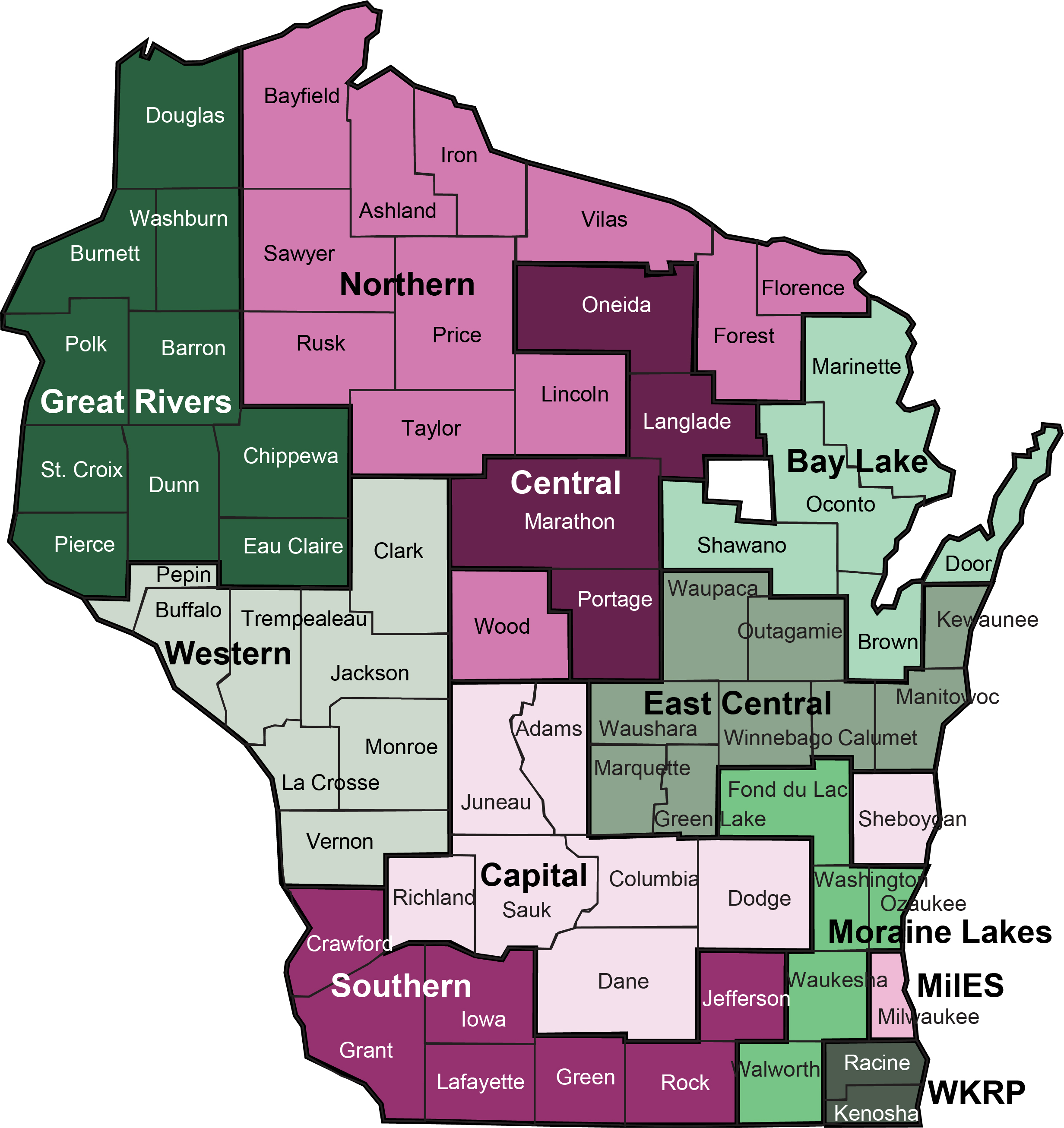 A map of Wisconsin for income maintenance.