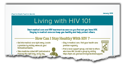 CDC HIV 101 Living with HIV - How can I stay healthy