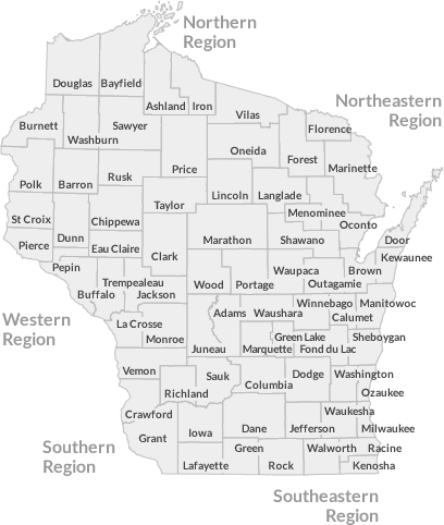 Wisconsin County Map for State/County Contract