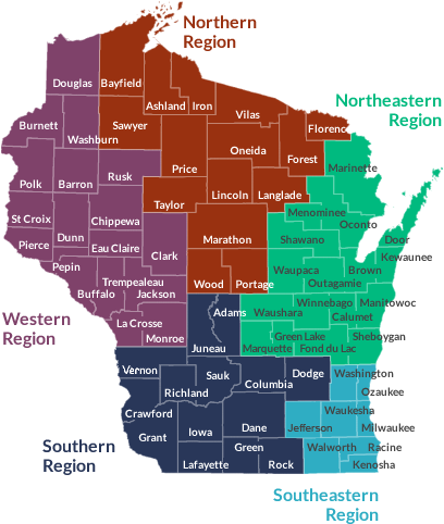 Map of Wisconsin showing the regions