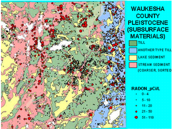 Map showing levels of radon in pleistocene surfaces of Waukesha County