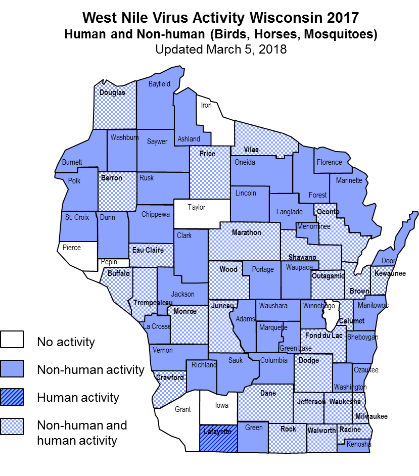 Map showing West Nile Virus Activity in Wisconsin, 2017