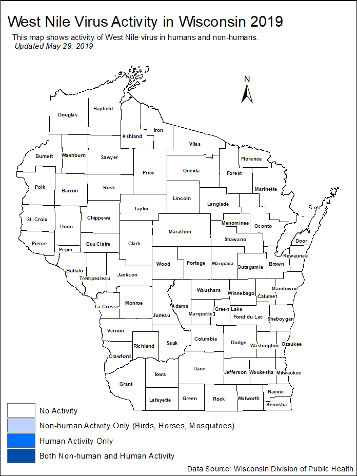 Wisconsin map of West Nile Virus