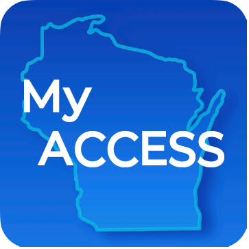 My Access on blue Wisconsin state with blue background