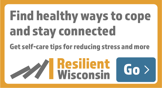 A 550x300 button for partner websites that says find healthy ways to cope and stay connected. Get self-care tips for reducing stress and more