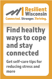 A 180x275 button for partner websites that says find healthy ways to cope and stay connected. Get self-care tips for reducing stress and more