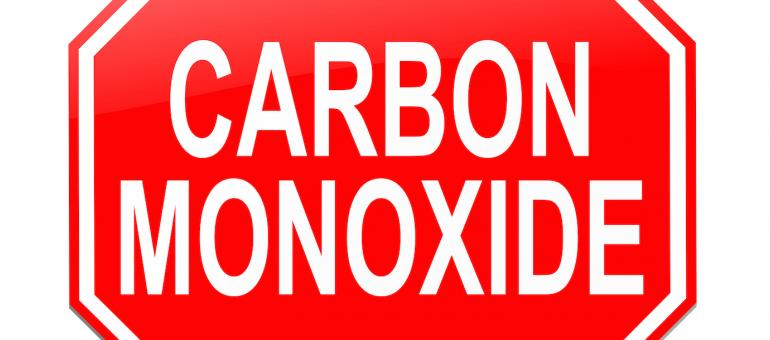 Stop sign symbol containing the words Carbon Monoxide