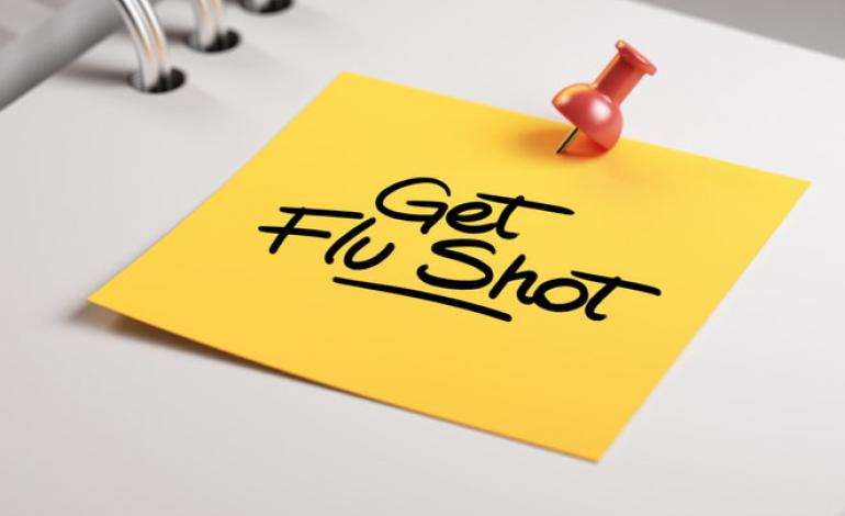 """A red pushpin pinned a yellow note with """"Get flu shot"""" written on it to a white notebook"""