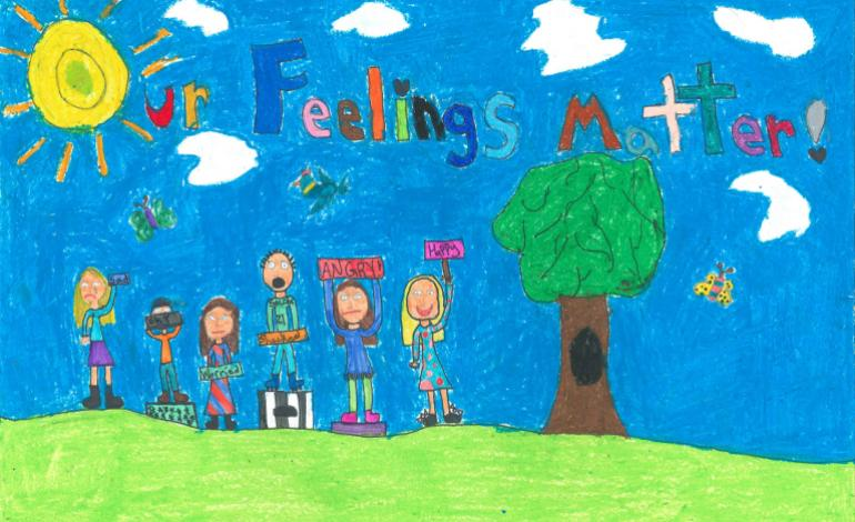 Drawing of kids next to tree holding feeling signs