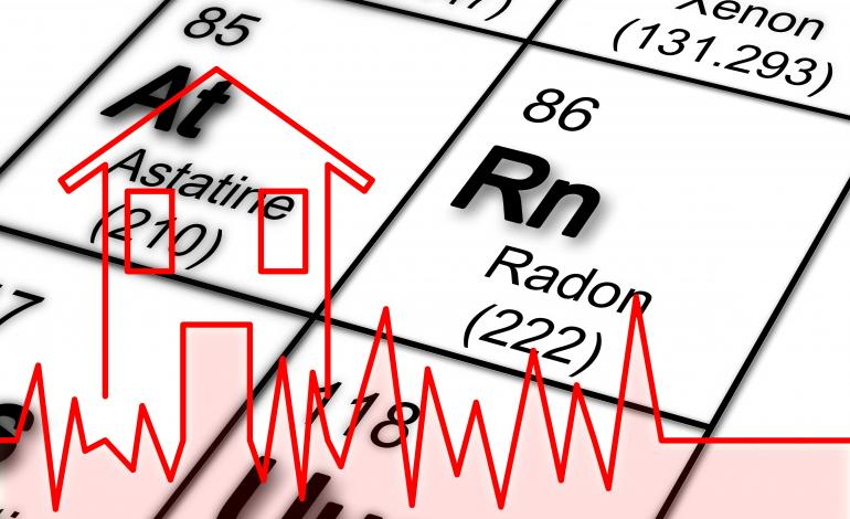 A periodic table showing radon (Rn) and check-up graph.