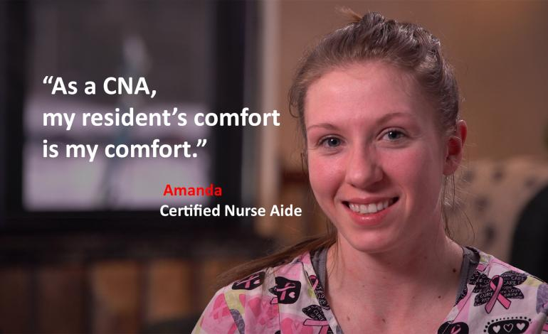 As a CNA, my resident's comfort is my comfort. with picture of female CNA
