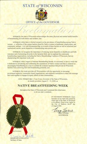 Governor's Proclamation proclaiming August 9-15 as Native Breastfeeding Week