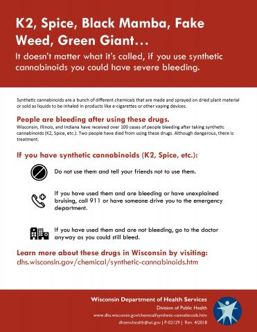 "Image of Synthetic Cannabinoids fact sheet ""K2, Spice, Black Mamba, Fake Weed, Green Giant"""
