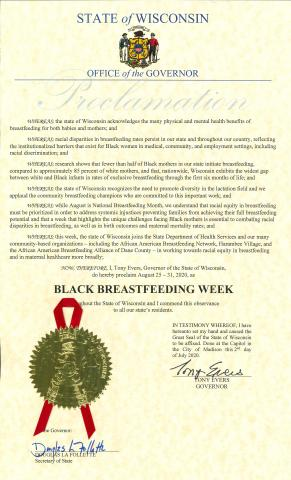 Proclamation for Black Breastfeeding Week signed by Governor Evers 2020