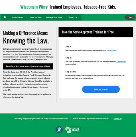 Wisconsin Wins: Trained Employees, Tobacco-Free Kids. Making a Difference Means Knowing the Law