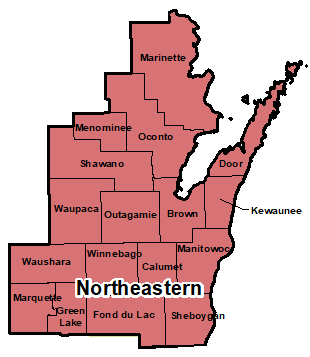 Counties that make up northeastern region for area administration.