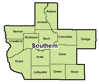 Counties that make up southern region for area administration.