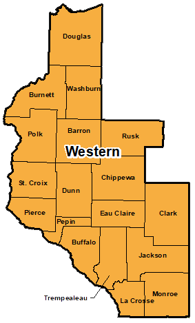 Counties that make up western region for area administration.