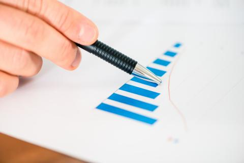 Image of a blue bar graph.