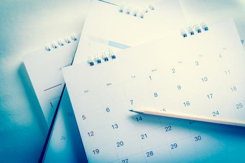 Calendar pages with pencil