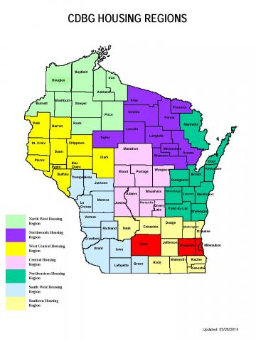 Wisconsin CDBG Housing Regions map
