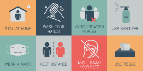 Eight icons for COVID-19 prevention: Stay Home, Wash Hands, Avoid Crowds, Use Sanitizer, Wear mask, keep distance, use tissue, don't touch face