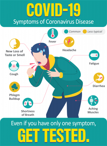 COVID-19 Even if you have only one symptom. Get Tested.
