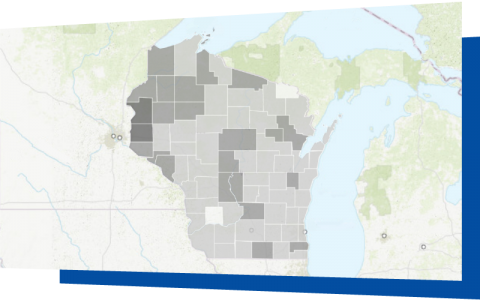 Wisconsin line map with counties