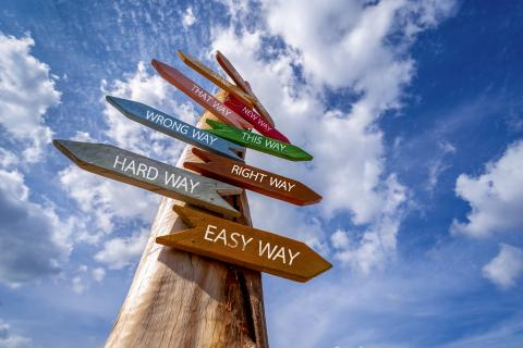Decision making sign post: hard way, easy way, right way, wrong way, that way, new way