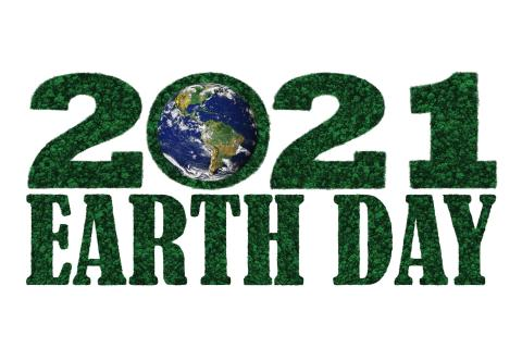 Trees forming the words Earth Day 2021, with earth in the zero