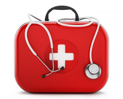A first aid kit with a stethoscope.