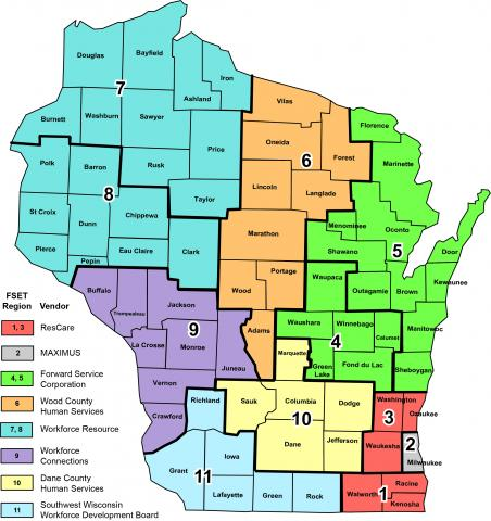 Wisconsin Map of FoodShare Employment and Training (FSET) Program Regions and Service Providers