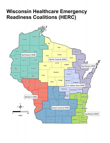 Map of Wisconsin Regional Healthcare Coalitions