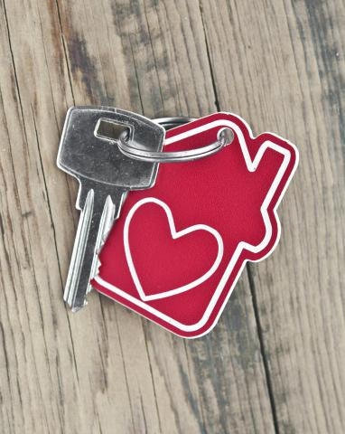 House key with a heart