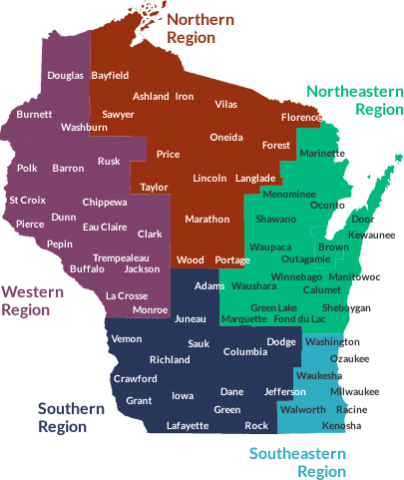Map of Wisconsin regions