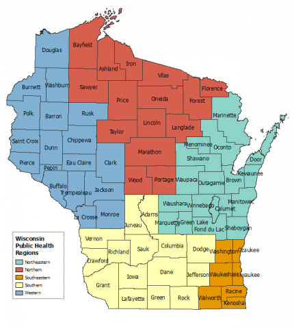 Map showing the Public Health regions of Wisconsin