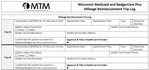 Medicaid & BadgerCare Plus Mileage Reimbursement Trip Log Image