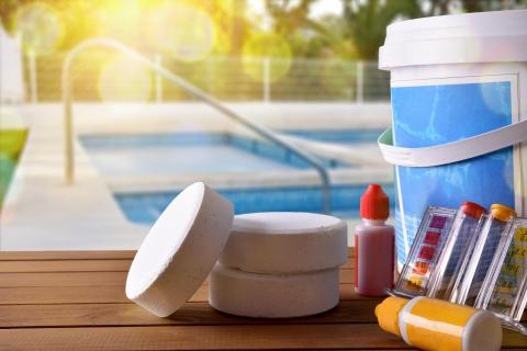Pool chemicals and products for testing and cleaning