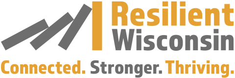 Logo for Resilient Wisconsin: Connected. Stronger. Thriving.