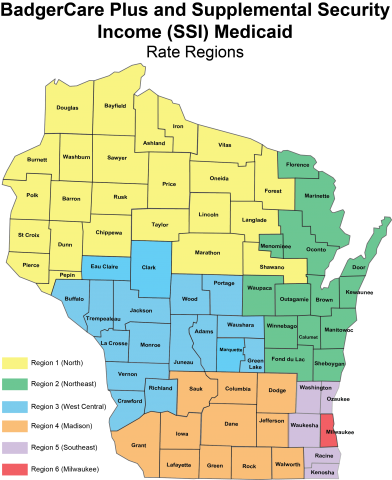BadgerCare Plus and Supplemental Security Income Rate Regions for Wisconsin