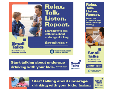 Examples of the Small Talks online display ads in a collage