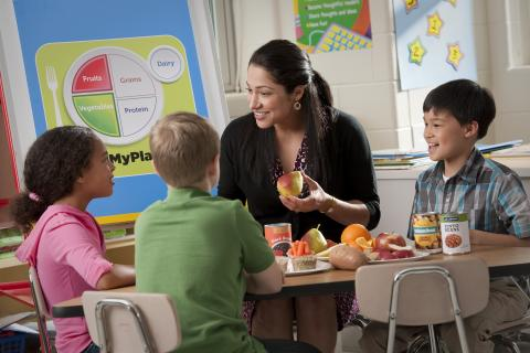 USDA teacher teaching children My Plate